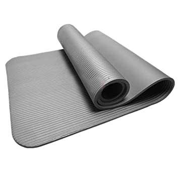 15MM Thick Non Slip Yoga Mat Exercise Fitness Pad Mat for Exercise Workout Fitness Physio Gym Cushion (Gray, Size: 183cm x 61cm x 1.5cm)
