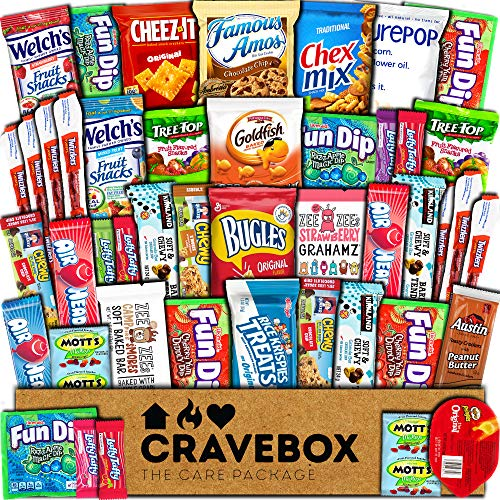 CraveBox Care Package (45 Count) Snacks Cookies Bars Chips Candy Ultimate Variety Gift Box Pack Assortment Basket Bundle Mixed Bulk Sampler Treats College Students Office Fall Final Exams Christmas (Gift For Family Christmas)