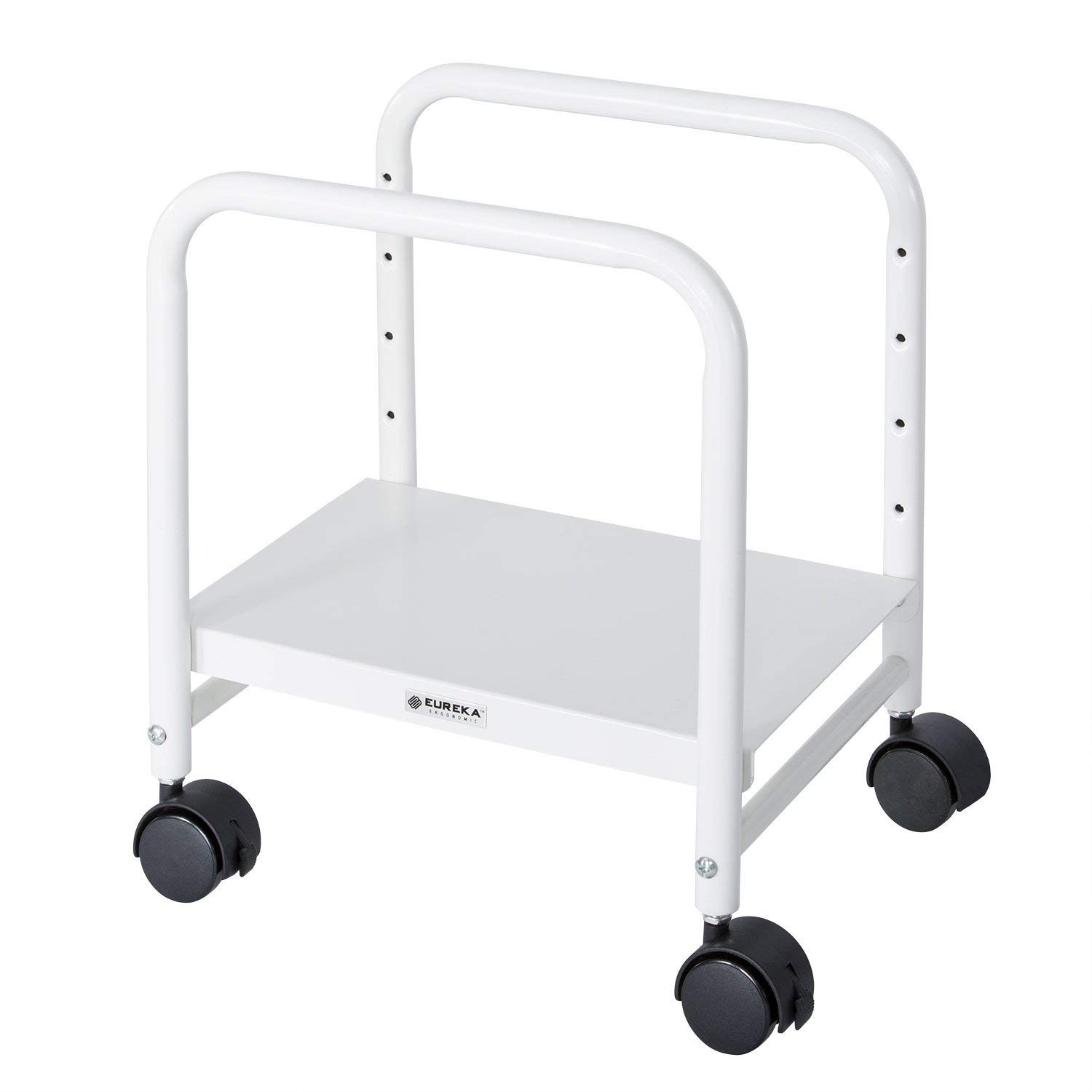 EUREKA ERGONOMIC Computer Cart Height-Adjustable Mobile CPU Stand Suitable for Sit Stand Desk Converters White by Eureka Ergonomic
