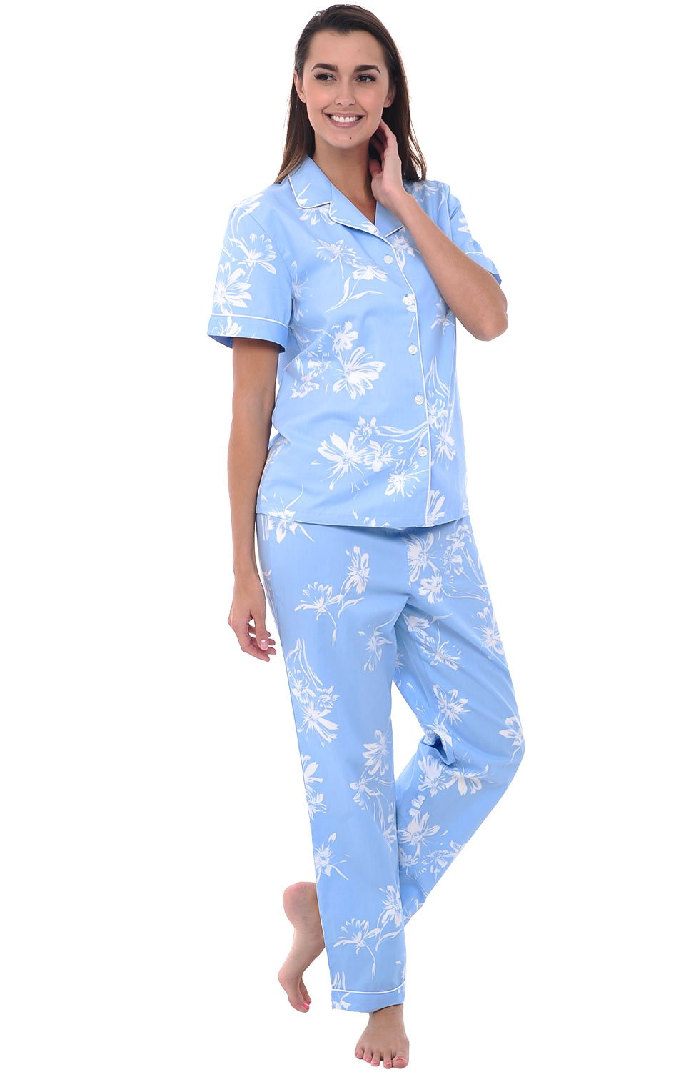 Alexander Del Rossa Womens Cotton Pajamas, Woven Pj Set with Pants, Large Blue with White Flowers Floral, Piping (A0518B82LG)
