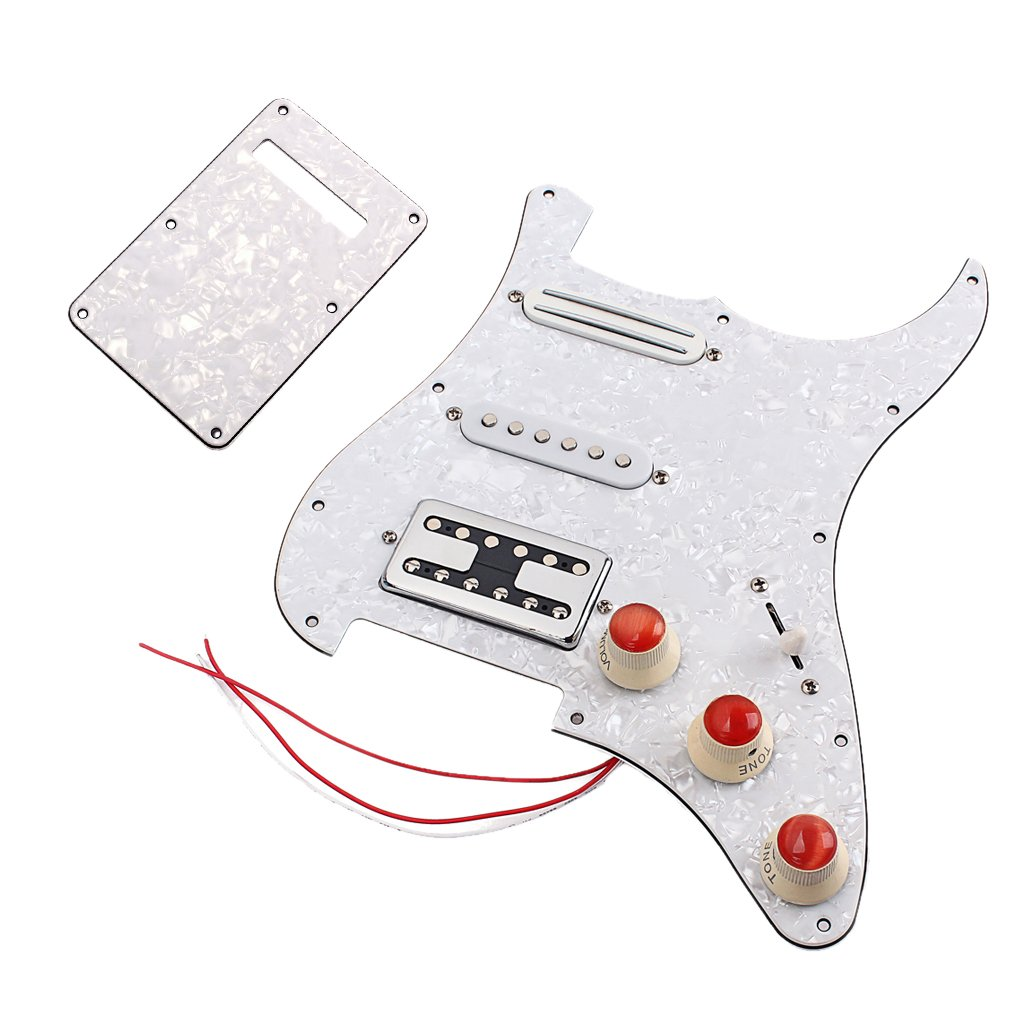 MagiDeal 3ply Loaded Prewired Pickguard SSH Pickup Guard Plate for Stratocaster Electric Guitar