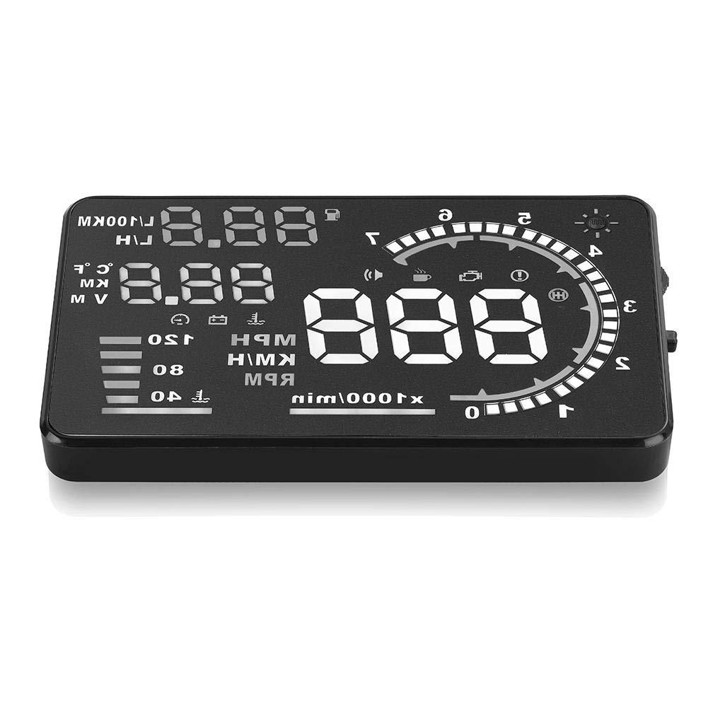 HUD dellAuto 5.5  A8 Head Up Display Sistema di Avviso per Auto Parabrezza riflettente Speed Screen con Interfaccia OBD II
