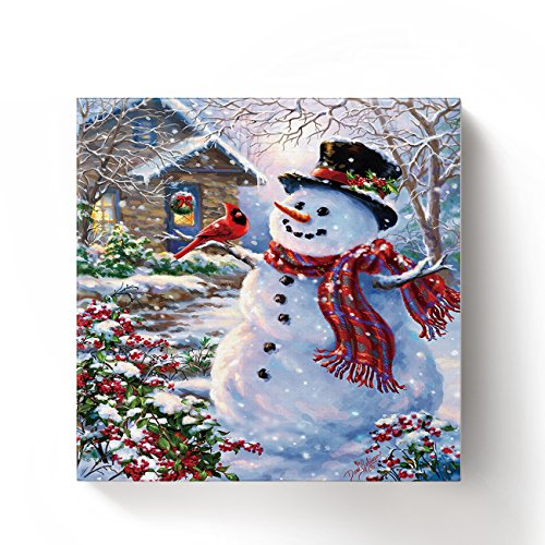 ALAGO Framed Wall Arts-Winter Holiday Merry Christmas Happy Snowman and Cardinals Giclee Canvas Prints Gallery Wrapped Modern Artwork Xmas Pictures Paintings for Home Decoration,Square,Ready to Hang