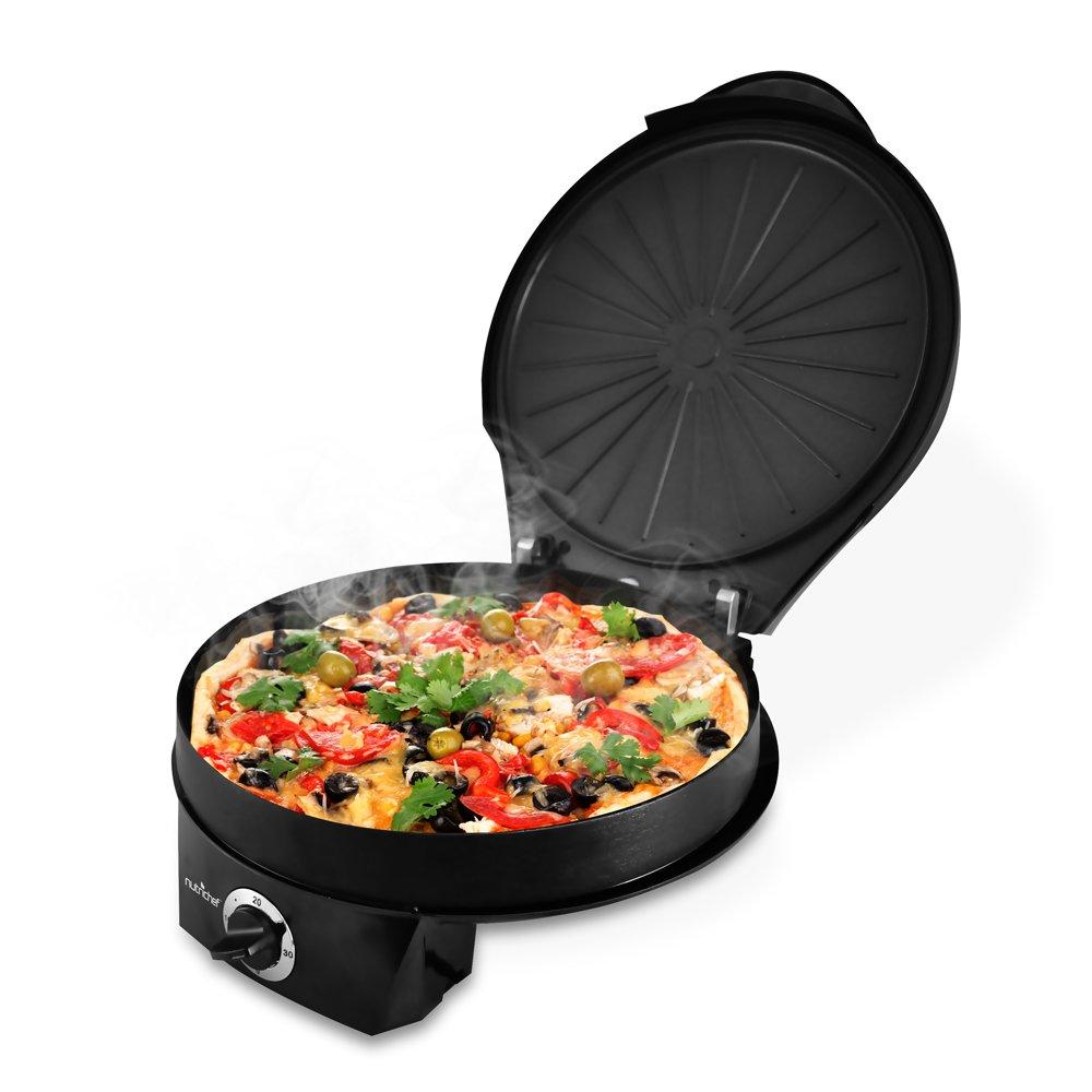 NutriChef Pizza Maker, 1200 Watt Personal Pizza Oven, Electric Pizza Oven, 12-In Non-Stick Pizza Cooker, Stain Resistant & Countertop Safe, Adjustable Temps, Black (PKPZM12)