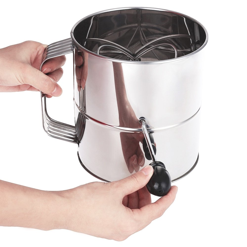 QHYT Hand-held flour sieve stainless steel cup sieve 20 mesh powdered sugar Baking tools WITHOUT SCALE