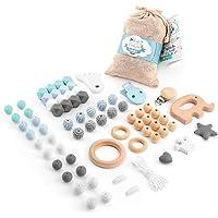 RUBY - Set 7 Piezas Chupetero Lactancia Mordedor Collar Juguete para Bebé de Silicona y madera, Kit Cesta de Regalo para Recien Nacido