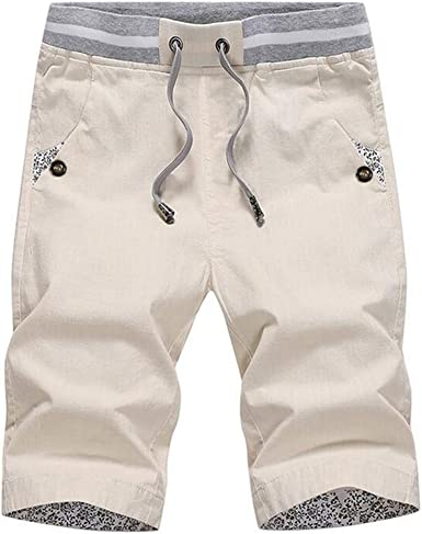 SHU QI Mens Casual Shorts Fashion Print Mens Large Size Cotton Pants Thin Beach Pants