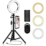 Ring Light with Tripod Stand Phone Selfie Kit - 8 inch LED Circle Lights for Makeup Blog YouTube Video Photo Camera…