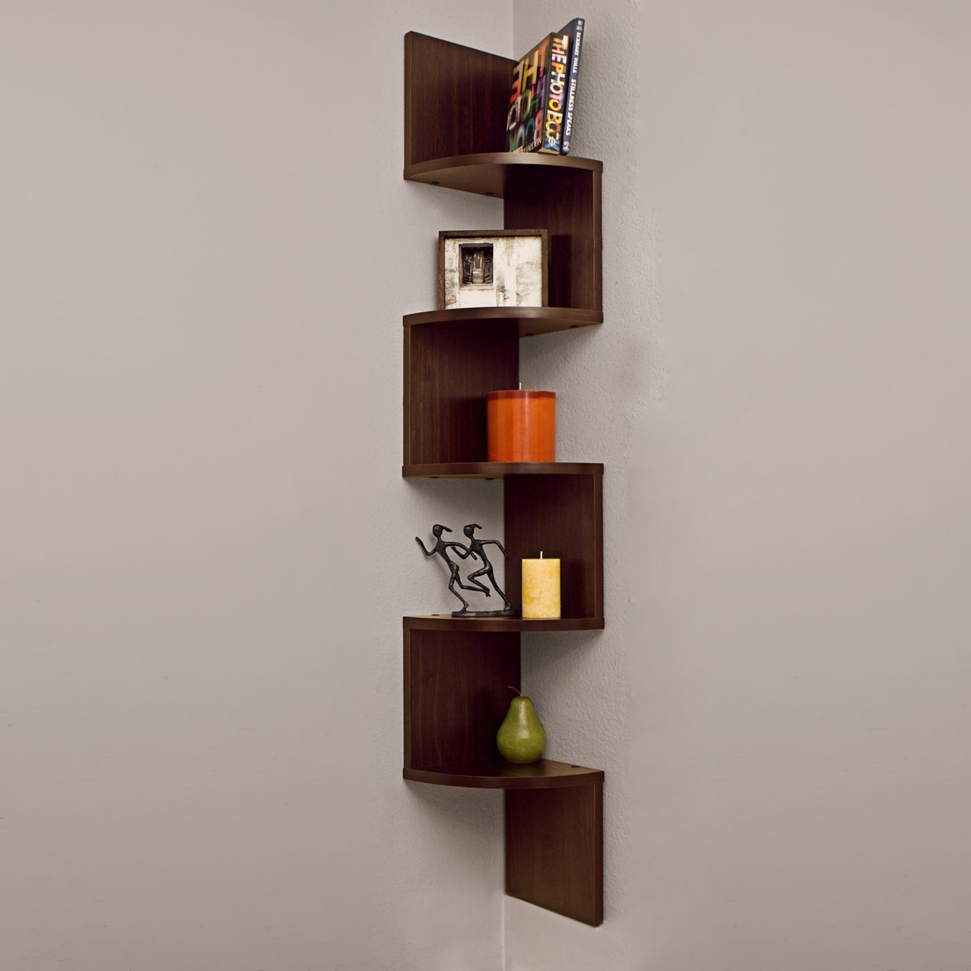 Decornation Corner Wall Mount Shelf Zigzag Shape Rich Walnu
