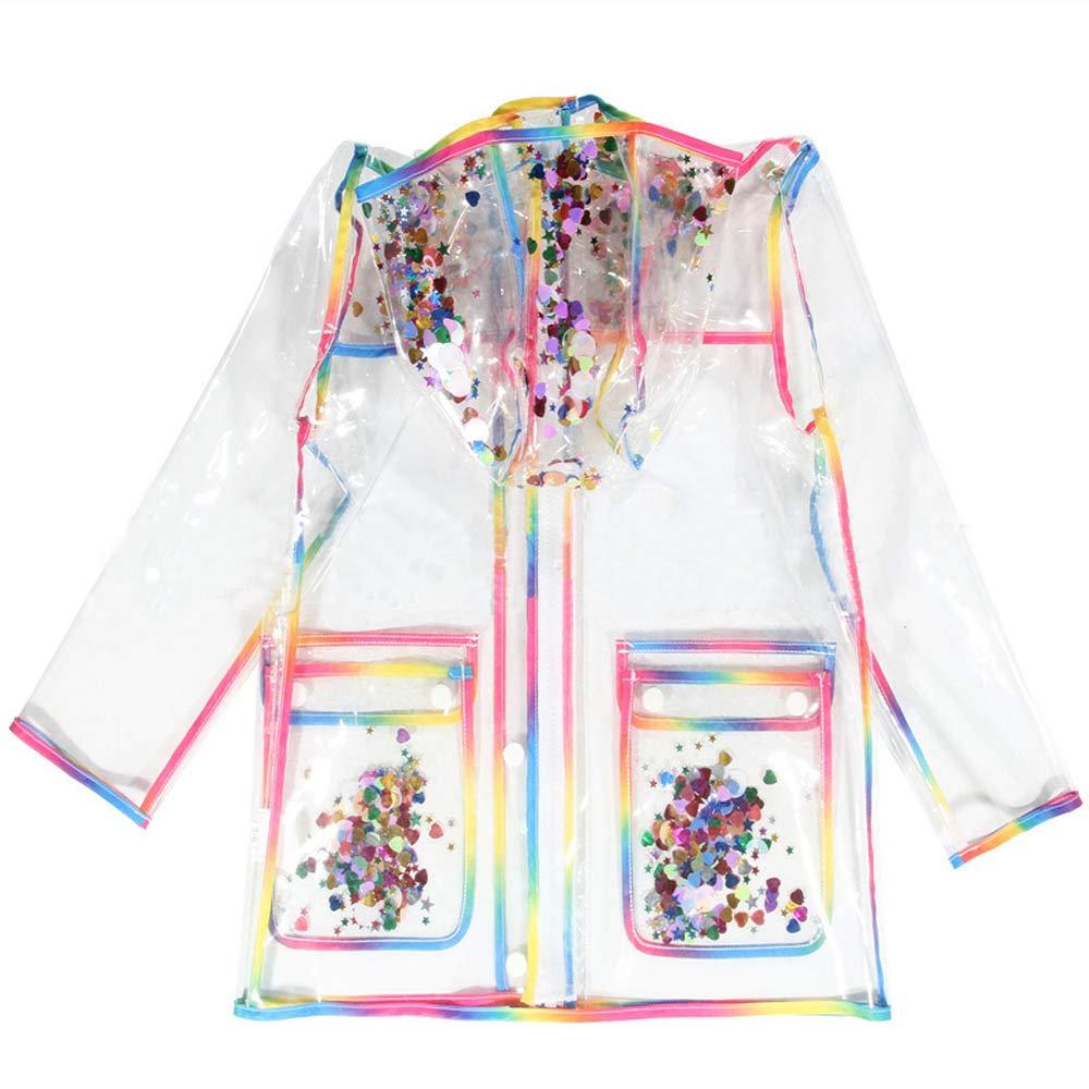 Girls Rainbow Rain Jackets with Hood Transparent Rain Coats (9-10Years, Rainbow) by CosSky