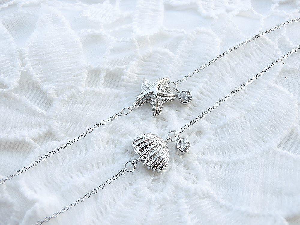 YAN /& LEI Sterling Silver Shell Starfish Snowflake CZ Charm Slim Dainty Adjustable Bracelet