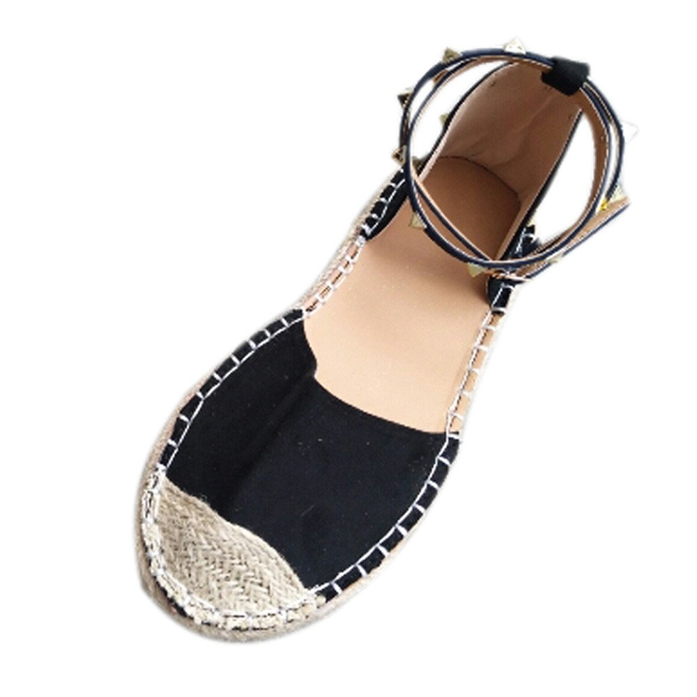 Women Round Toe Flat Comfortable Closed Toe Ballet -Low Ankle Strap Shoe (Black -1, US:9.0)