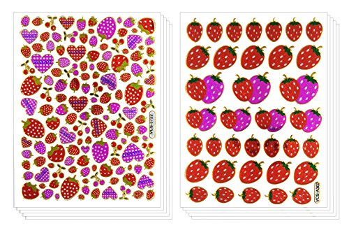 Strawberry Heart Sticker 10 Sheets Self-adhesive Glitter Metallic Foil Reflective Sticker Decorative Scrapbook for Kid, Birthday, Photo, Card, Diary, (Tiny Happy Puppy)