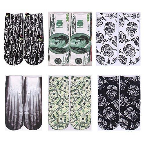 WoodBury Womens Socks Cotton 3D Cartoon Ankle Socks SKull, 6 Pack