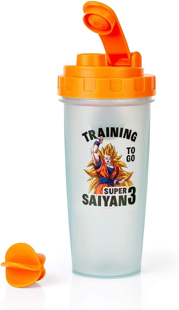 Dragon Ball Z Super Saiyan Goku Gym Shaker Bottle -20-ounce BPA-Free Plastic Blender Bottle With Whisk Ball - Protein Shake, Meal Replacement, Smoothie Mixer - Gym Workout Accessory - Ideal DBZ Gifts