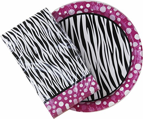 Pink Polka Dot Zebra Print Paper Plates & Napkin Set (Dinner Plates and -