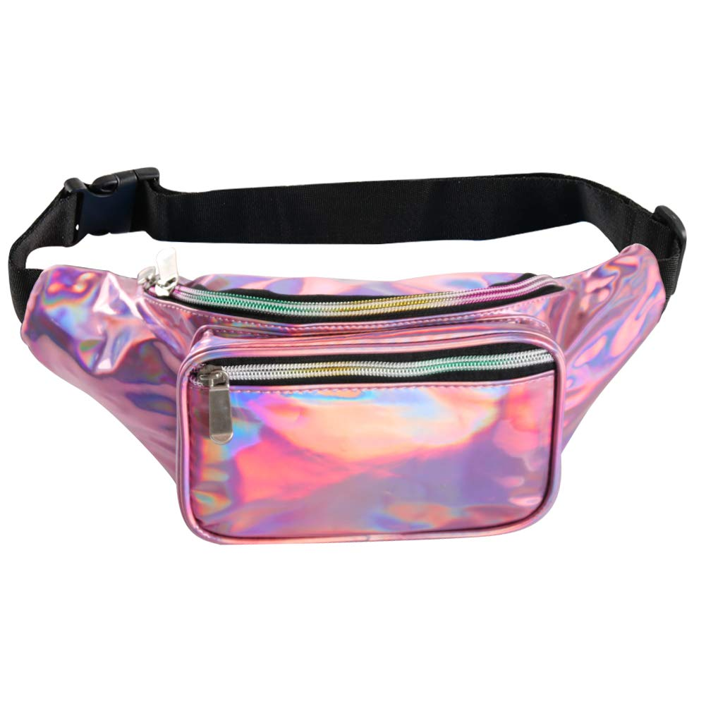Fotociti Holographic Fanny Pack- Fashion Rave Waist Bag with Adjustable Belt for Women and Men (Holographic Pink) by Fotociti