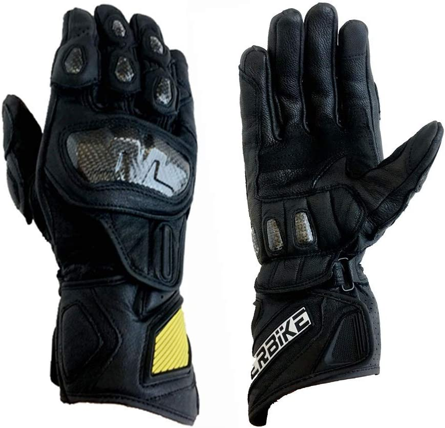 G07-Black, Medium Full finger Carbon Fiber Motorcycle Gloves for Men GP-PRO Genuine Leather Motor Racing Gloves