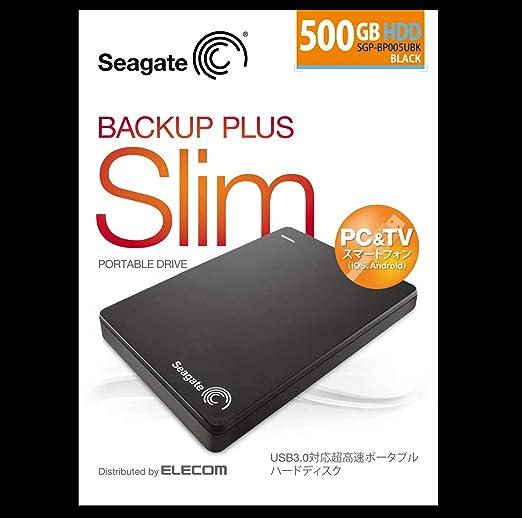 Seagate BackupPlusSlim2.5inch_500GB USB3.0 ポータブルハードディスク【SGP-BP005UBK】