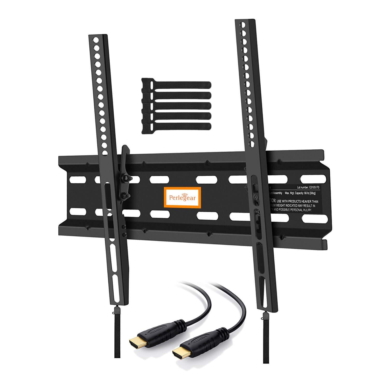"""Perlegear TV Tilt Wall Bracket, Reduces Glare & Adds Space To Your Home! Safely Holds 30KG & Fits Most 23""""-55"""" TVs! Tilt TV Wall Mount Improves Viewing Angles & Reduces Neck Pain! Easy Assembly, Quality Tilt Wall Bracket!"""