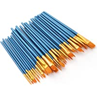 Festnight 50 PCS Nylon Hair Paint Brushes Set Artist Paintbrush Lot Multiple Mediums Brushes for Watercolor Gouache Oil…