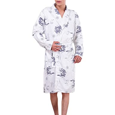 Somax Mens Luxury Lightweight Cotton Dressing Gown – Navy & Wine ...