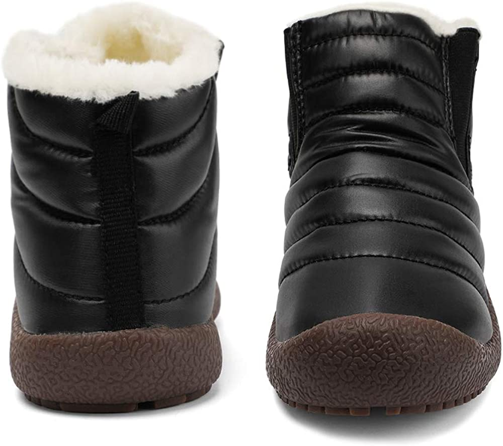 Zefani Kids Waterproof Snow Boots Winter Anti-Slip Fur Lined Warm Shoes Outdoor