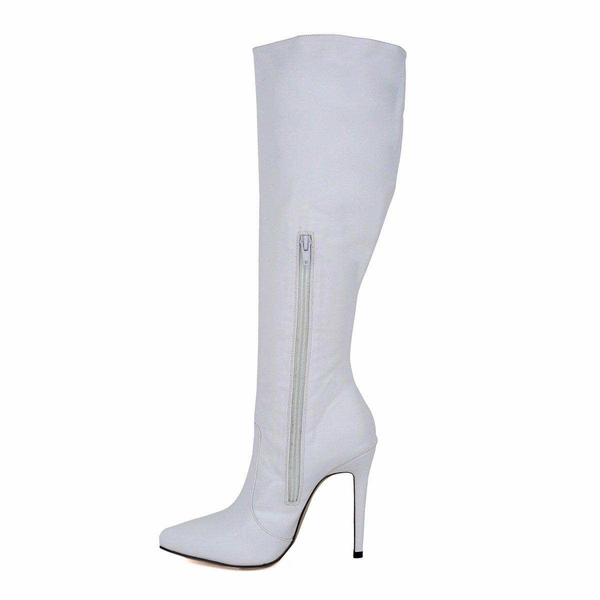 - DYF Chaussures femmes Bottes Tube Long fait Stiletto Talon Fine couleur solide blanc,Matt,37