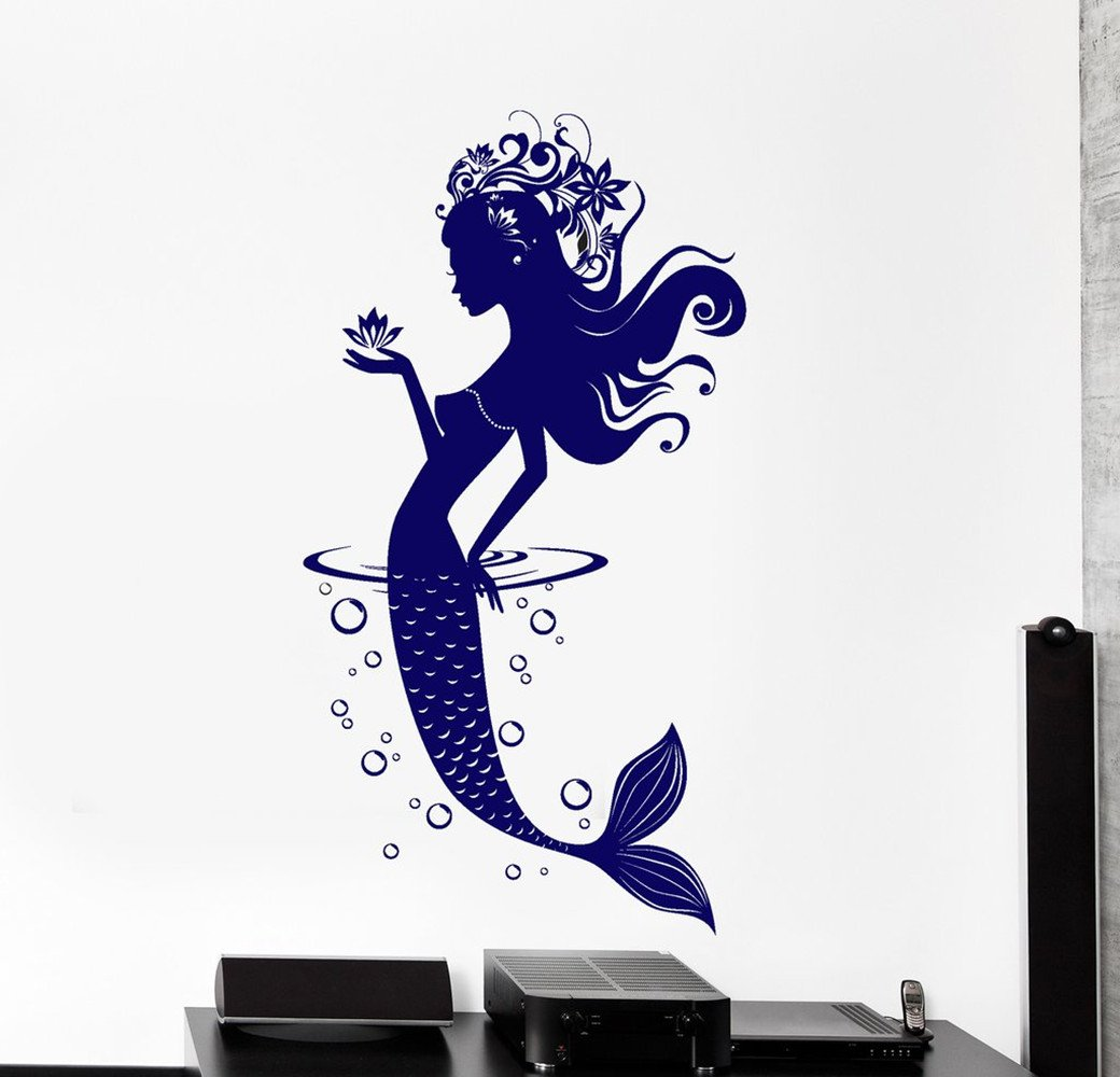 BorisMotley Wall Decal Mermaid Ocean Fairy Tale Vinyl Removable Mural Art Decoration Stickers for Home Bedroom Nursery Living Room Kitchen