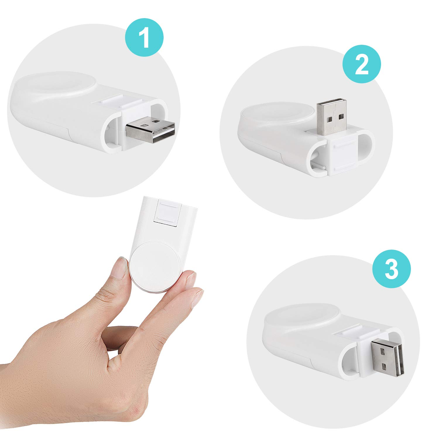 Watch Charger, Twinkk 3-Angles Adjustable Magnetic Portable Wireless iWatch Charger Compatible for Apple Watch Series 4 3 2 1 44mm 42mm 40mm 38mm(White)