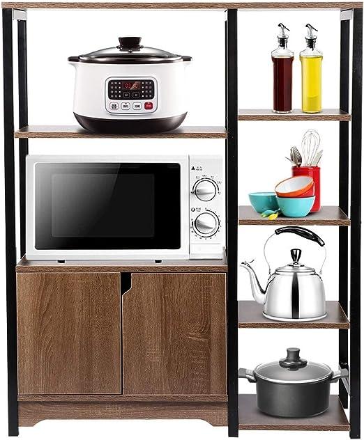 EBTOOLS Armario de Cocina con Puerta Doble y 6 Estantes, Mueble de ...
