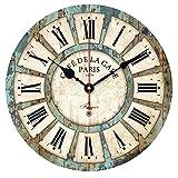 WangO Wall Clocks European Style Vintage Creative Round Clock Home Decor Wall Clock (12″, Blue) For Sale