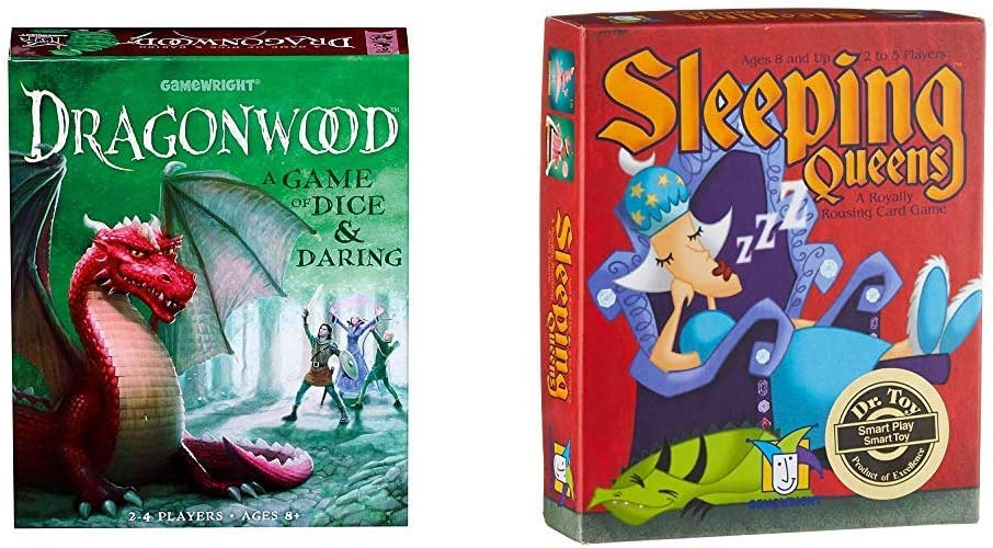 Gamewright Dragonwood A Game of Dice withDaring Board Game & Sleeping Queens Card Game, 79 Cards
