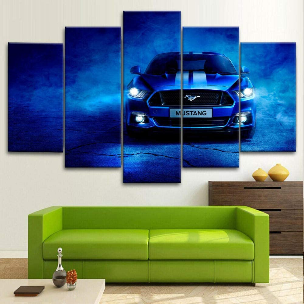 ADGN - Multi Panels Large Canvas Prints Wall Art Ford Mustang Blue Sports Car Poster Modern Wall Decor Home Decorations Stretched and Framed Canvas Gallery Wrapped Print Ready to Hang (60