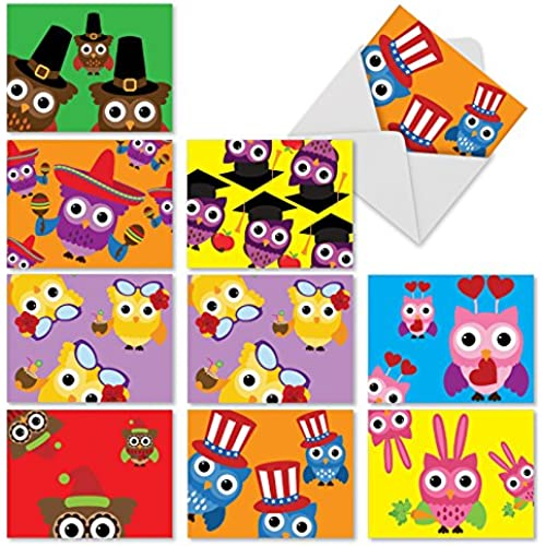 M2948 Owl-Occasions: 10 Assorted Happy Holiday Note Cards Featuring Adorable Illustrated Owls Dressed For A Variety Sales