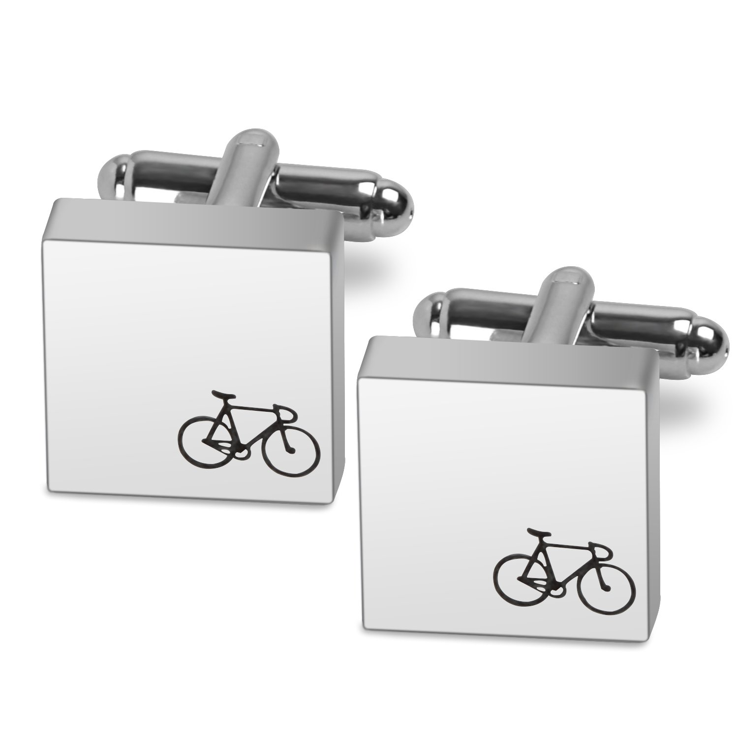 Memories Coding Bike Cufflinks for Men Simple Style Personalized Cuff Links Business Classic Wedding Engraved Cufflinks Gift for Boyfriend Father Husband (Bike)