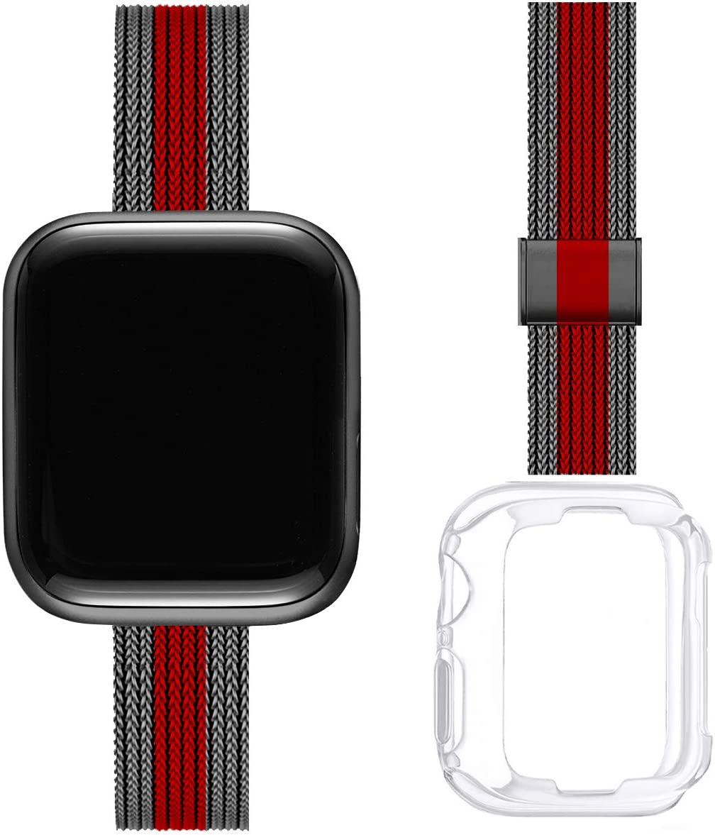 ZXCASD Slim Watch Band Compatible with Apple Watch Band 38mm 40mm 42mm 44mm for Women Girls, Stainless Steel Mesh Strap Replacement for iWatch SE iwatch Series 6/5/4/3/2/1 (Black Red, 38mm 40mm)