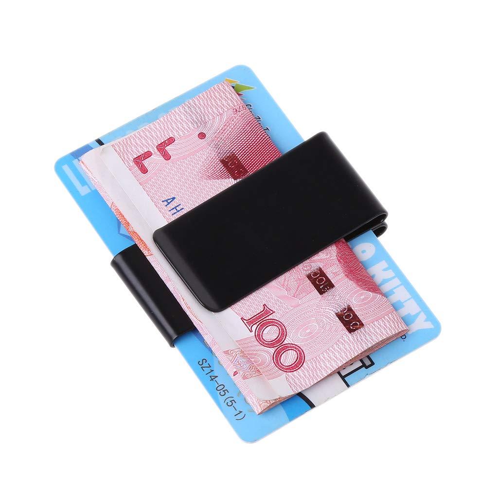 Argent A0127 Pince /à Monnaie Pince /à Billets Clip en Dollars Double Face Acier Inoxydable Ultra-Mince Portable Multifonctionnel Set de Cartes de Voyage