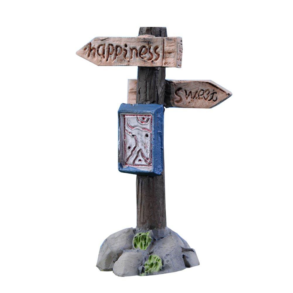 kentop Miniature Garden Ornament Simulazione wegweiser Muschio Micro Paesaggio Ornamenti ornamento per vasi Yard casa delle bambole Vasi di Piante fai da te decorazione 6.5cm Stil-1