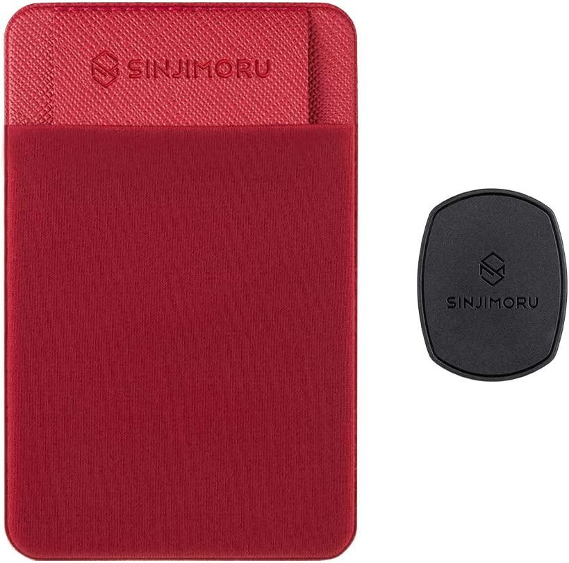 Sinjimoru Removable Cell Phone Wallet with Flap, Wireless Charging Compatible Phone Card Holder Wallet and iPhone Mount, Sinji Mount Flap Red