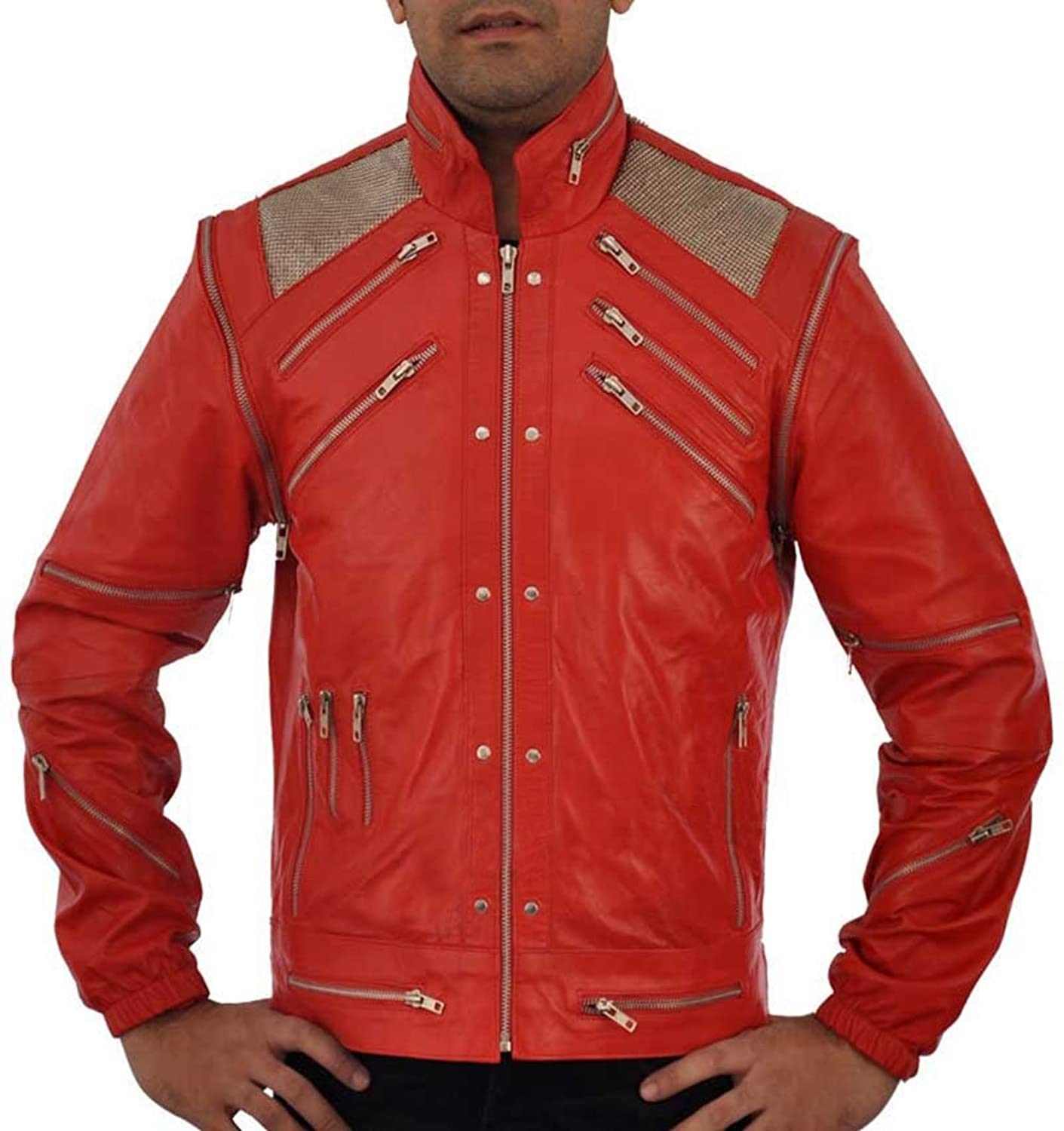 MJ Beat It Men's Red Leather Jacket