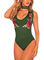 FIYOTE Women Embroidered Rose Sheer V Neck Choker One Piece Bodysuit S-L