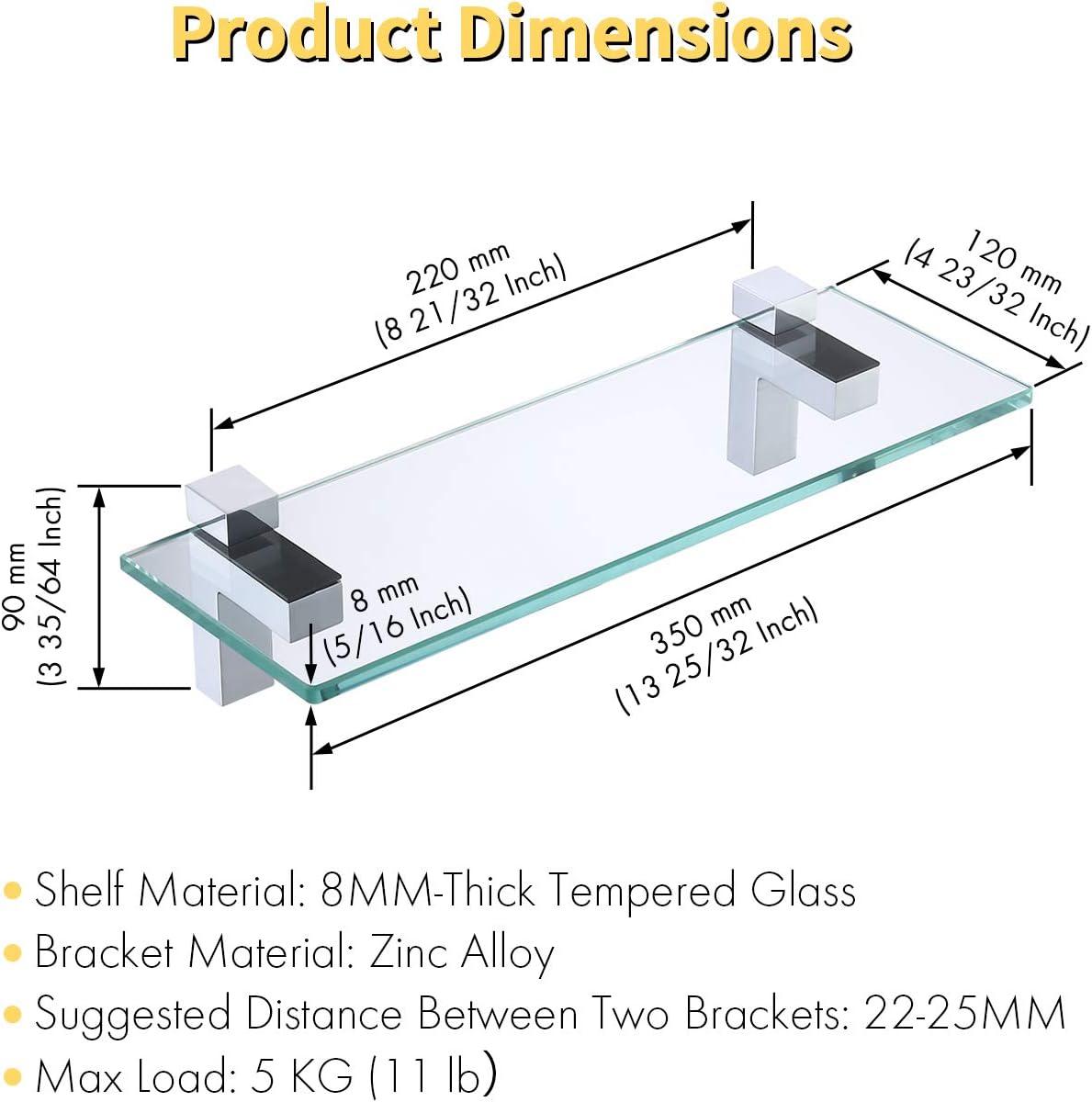 BGS3201S35-2 KES Badablage Glasregal Eckablage Glasbodentr/äger aus Edelstahl und Glas klar und silber