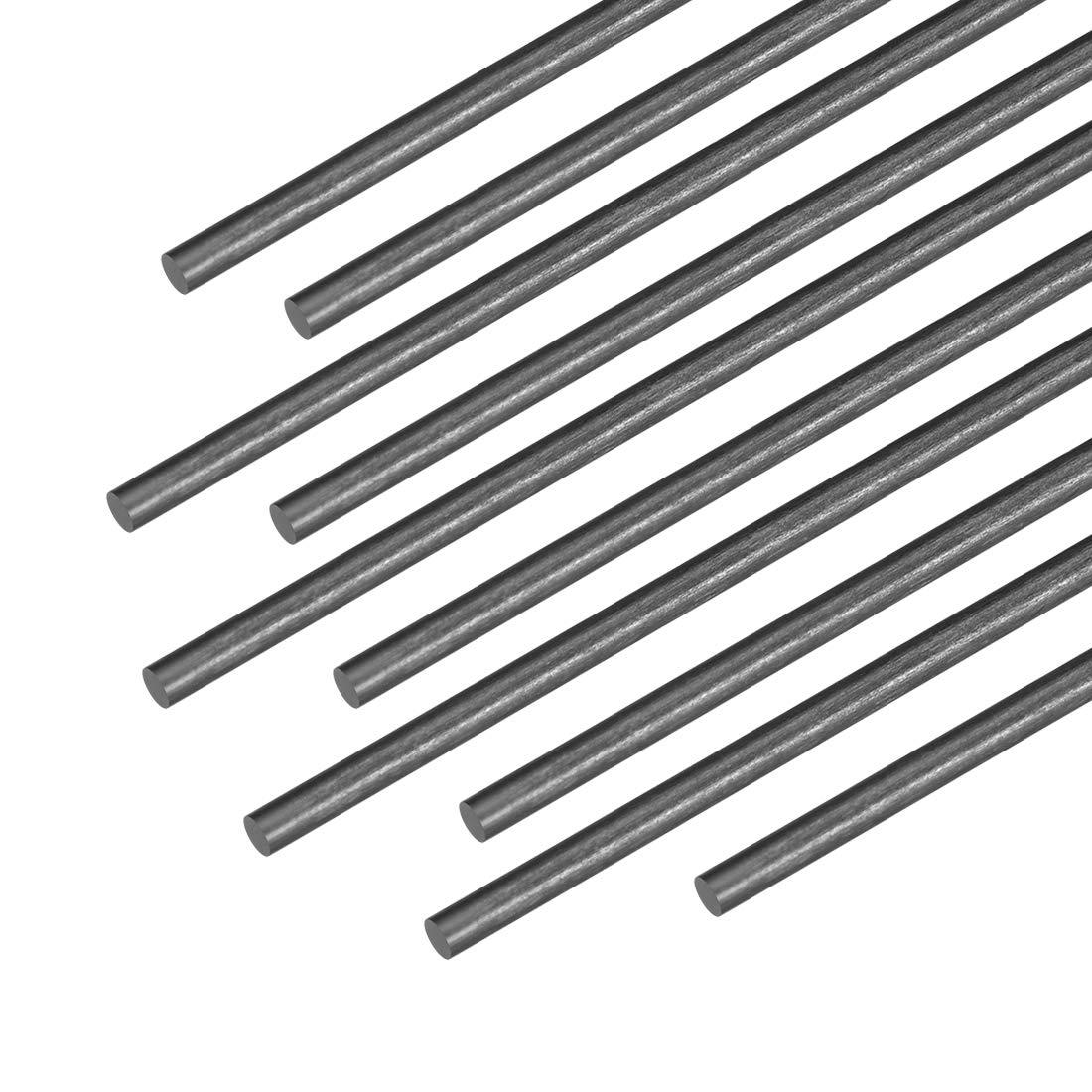 sourcing map 3mm Carbon Fiber Bar For RC Airplane Matte Pole US, 200mm 7.8 inch, 10pcs