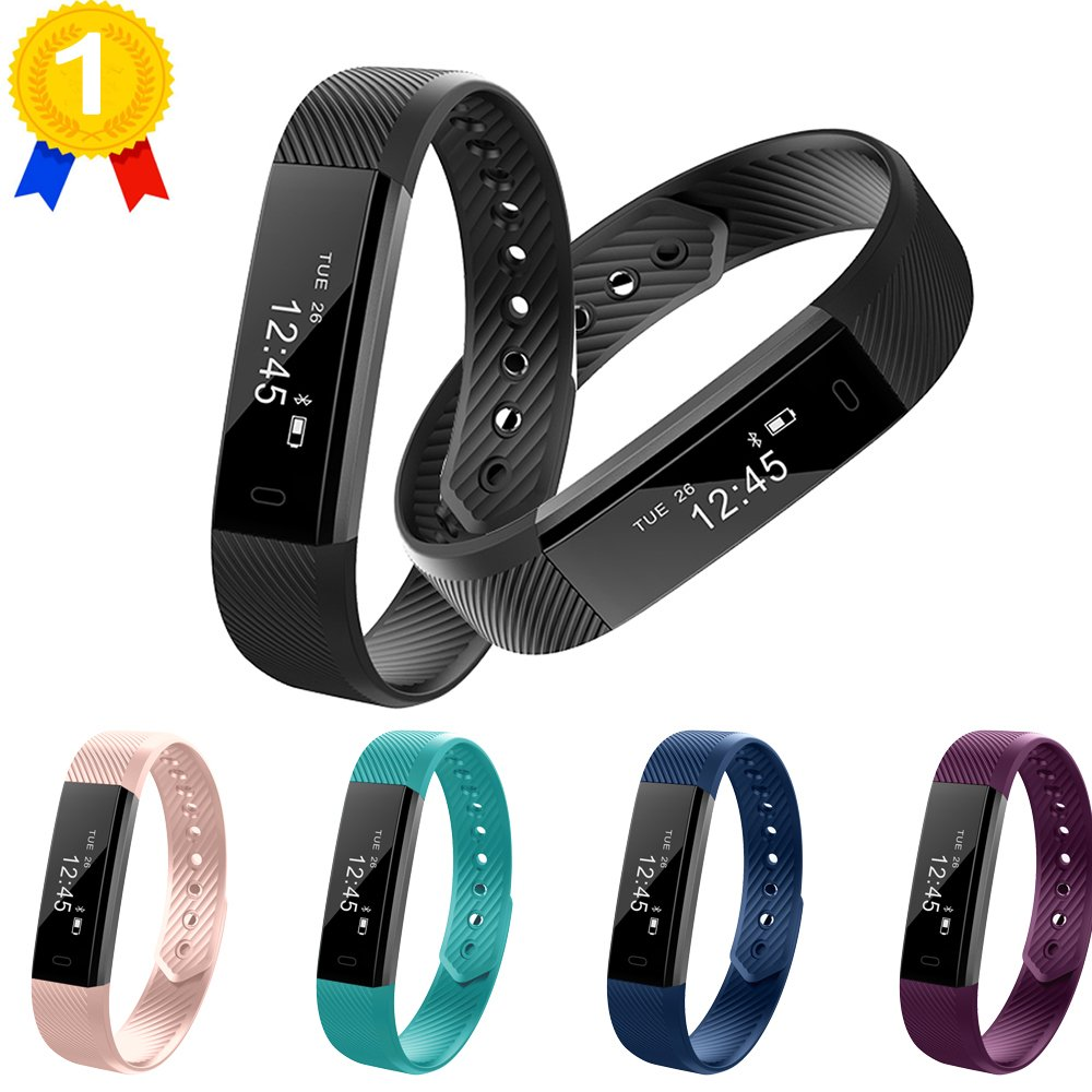 keoker ID115Fitness Tracker Smart Armbandes, Sport Activity Monitor, Schrittzähler & Sleep Montior Bluetooth Smart Armband für iOS & Android Handy schwarz