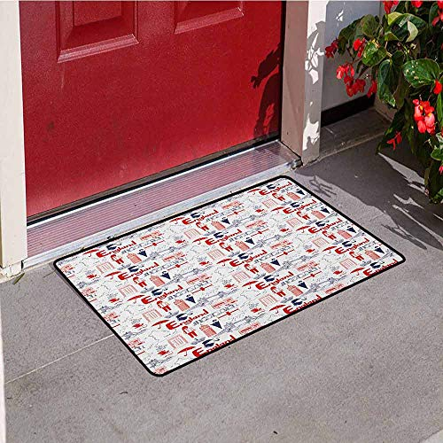 GloriaJohnson London Commercial Grade Entrance mat Sketch Artwork Country British Cultural Collection in Doodle Style for entrances garages patios W31.5 x L47.2 Inch Dark Blue Vermilion White -