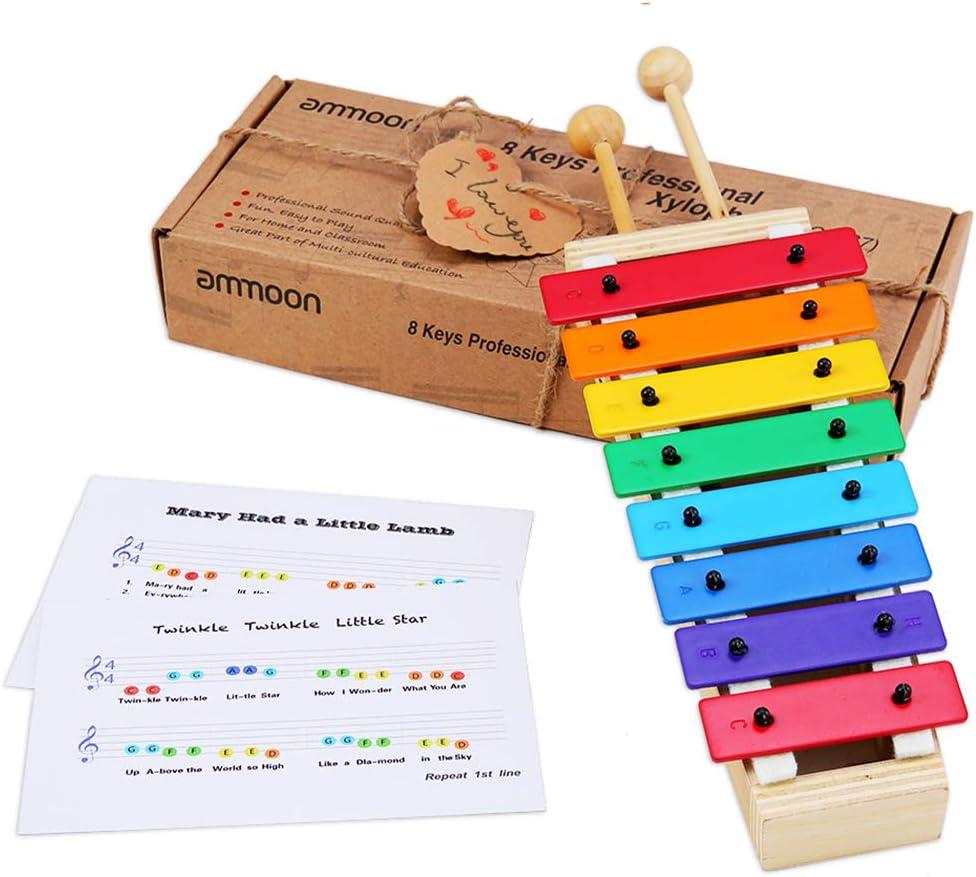 ammoon Xilófono Glockenspiel 8 Teclas Tamaño Compacto con Baquetas de Madera Percusión Juguete de Instrumentos Musicales Regalo para Niños