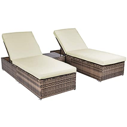 Astonishing Tangkula 3 Piece Chaise Lounge Chair Set Patio Wicker Chaise Furniture Set Dark Brown Caraccident5 Cool Chair Designs And Ideas Caraccident5Info