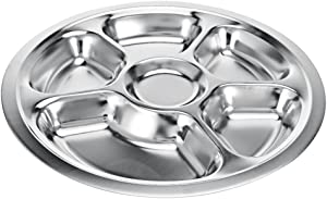 Stainless Steel Divided Dinner Plate 6 sections Mess Trays Great for Camping, Kids Lunch and Dinner or Every Day Use Round