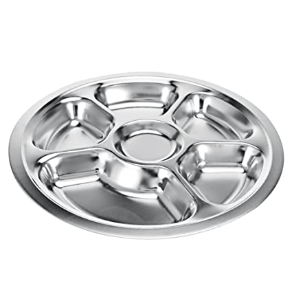 Stainless Steel Divided Dinner Plate 6 sections Mess Trays Great for C&ing Kids Lunch and  sc 1 st  Amazon.com & Amazon.com | Stainless Steel Divided Dinner Plate 6 sections Mess ...